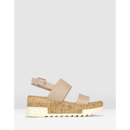 Benji Cork Wedge Sandals Latte by Betts