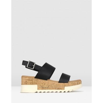 Benji Cork Wedge Sandals Black by Betts
