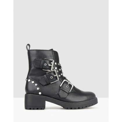 Berlin Embellished Combat Boots Black by Betts