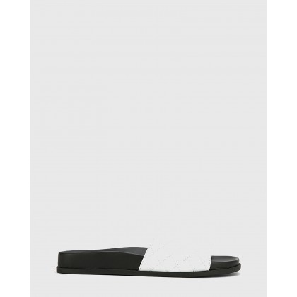 Berman Leather Quilted Open Toe Slides White by Wittner