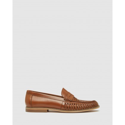 Bert Leather Woven Slip On Shoes Tan by Oxford