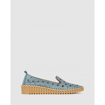 Bertie Leather Wedge Loafers Denim by Airflex