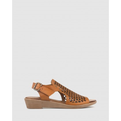 Better Laser Cut Leather Sandals Tan by Airflex