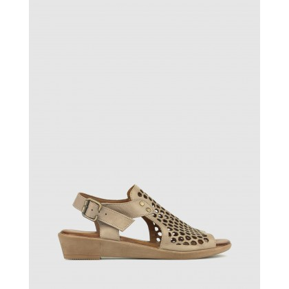 Better Laser Cut Leather Sandals Taupe by Airflex