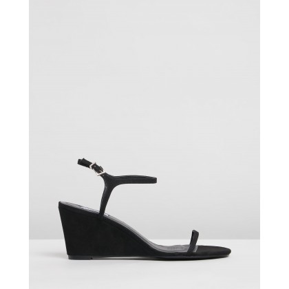 Bianca Wedges Black Microsuede by Dazie