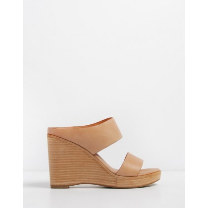 Bite Wedge Sandals Tan Leather by Jo Mercer