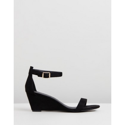 Blare Wedges Black Microsuede by Spurr