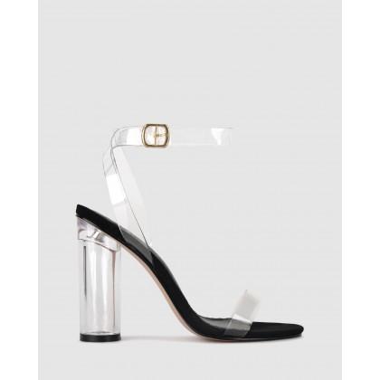 Blaze Vynalite Cylinder Heels Black/Clear by Zu