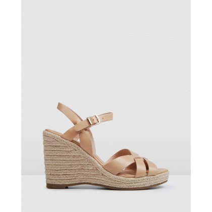 Bleeker Espadrille Wedges Natural Leather by Jo Mercer