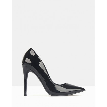 Blossom Patent Stiletto Heels Black Patent by Betts