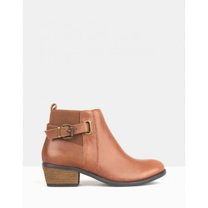 Bootscoot Leather Ankle Boots Tan by Betts