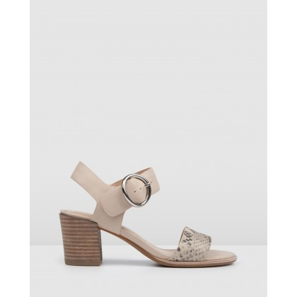 Bowie Mid Heel Sandals Bone Leather by Jo Mercer