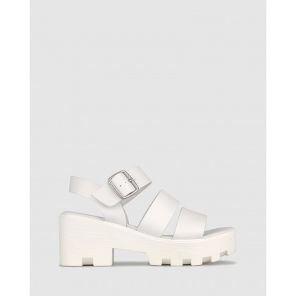 Bratty Platform Sandals White by Betts