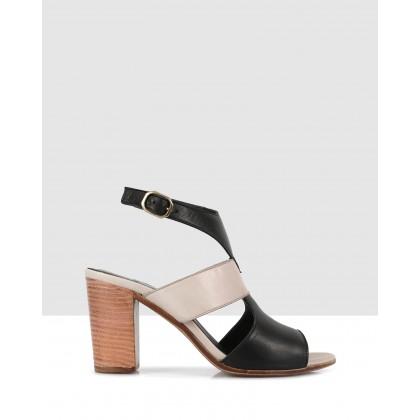 Brenda Heeled Sandals Black-8413/grey-8433 by S By Sempre Di