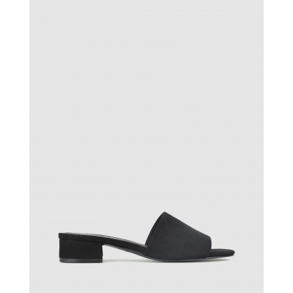 Brenna Slip On Mules Black Micro by Betts