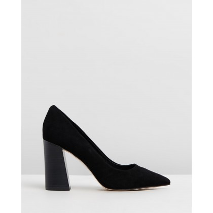 Brielle Leather Block Heels Black Suede by Atmos&Here