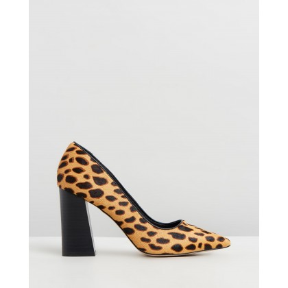 Brielle Leather Block Heels Leopard by Atmos&Here