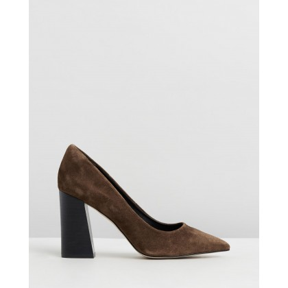 Brielle Leather Block Heels Brown Suede by Atmos&Here