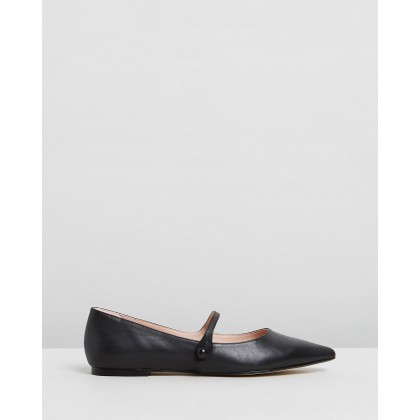 Brigette Leather Flats Black Polished Leather by Atmos&Here