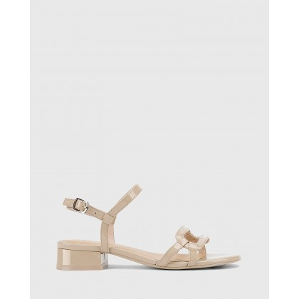 Brigita Patent Leather Block Heel Sandals Beige by Wittner