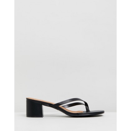 Briony Toe Post Heels Black Smooth by Rubi