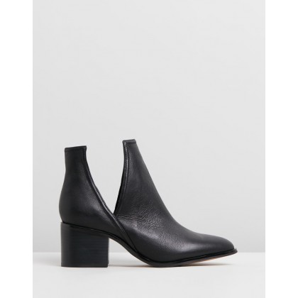 Britt Cut Out Ankle Boots Black Leather by Jo Mercer