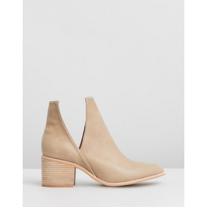 Britt Cut Out Ankle Boots Taupe Leather by Jo Mercer