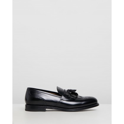Brogue Detail Loafers Black Leather by Barrett