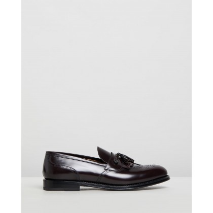 Brogue Detail Loafers Bordeaux Leather by Barrett