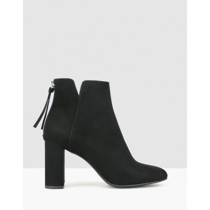 Bubble Faux Suede Heeled Boots Black by Betts