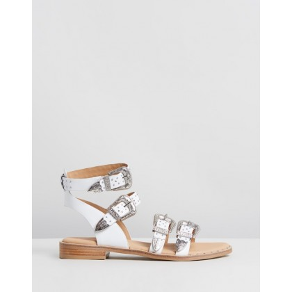 Buckled Leather Sandals White by Bronx