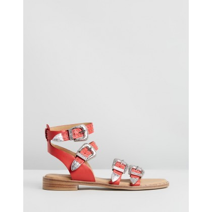 Buckled Leather Sandals Bright Red by Bronx
