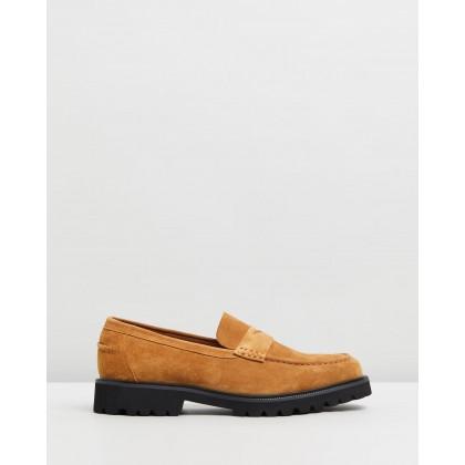 Busan Suede Loafers Tan by Double Oak Mills