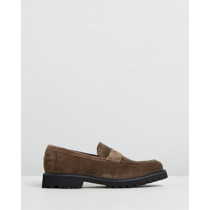 Busan Suede Loafers Taupe by Double Oak Mills