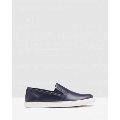 Callum Leather Boat Shoe Navy by Oxford