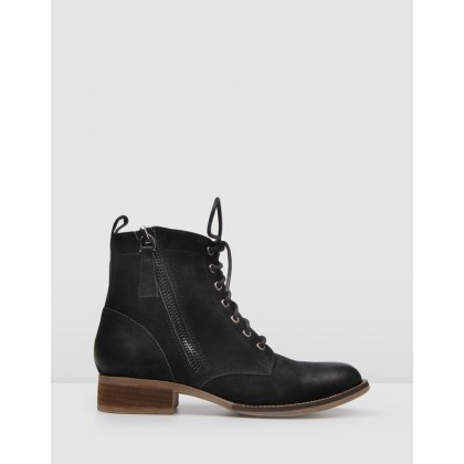 Camo Ankle boots Black Nubuck Leather by Jo Mercer