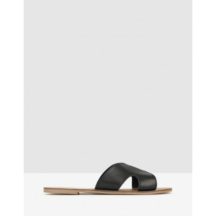 Caprice Cut Out Leather Sandals Black by Betts