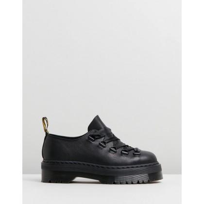 Caraya 5-Eye Shoes Black Pisa & Black Smooth by Dr Martens