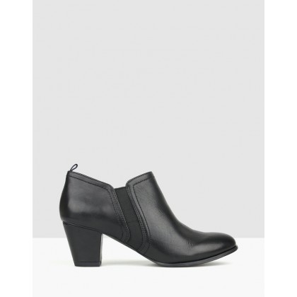 Carly Heeled Ankle Booties Black by Airflex