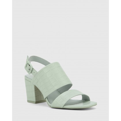 Carr Croc Embossed Leather Block Heel Sandals Green by Wittner