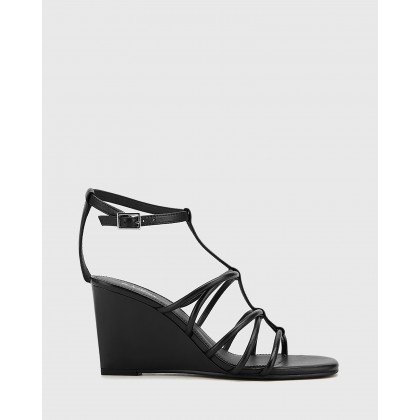 Carra Leather Open Toe Wedge Sandals Black by Wittner
