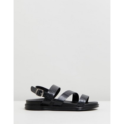 Carter Chunky Sandals Black Croc Embossed by Rubi