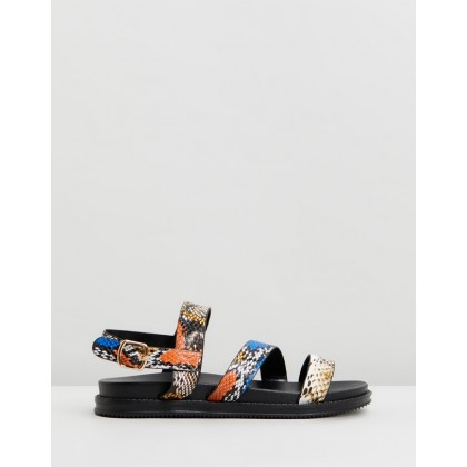 Carter Chunky Sandals Multi Faux Snake by Rubi