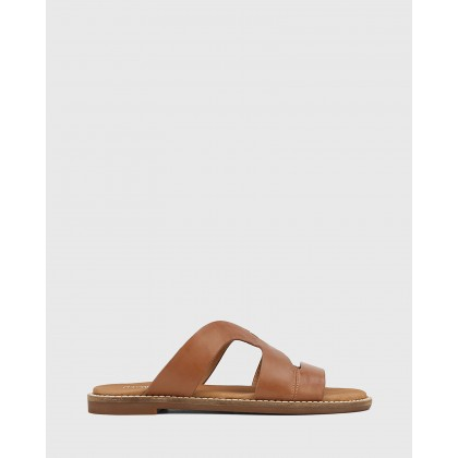 Casio Leather Cut Out Slides Tan by Wittner