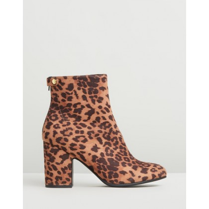 Cass Ankle Boots Leopard Microsuede by Spurr