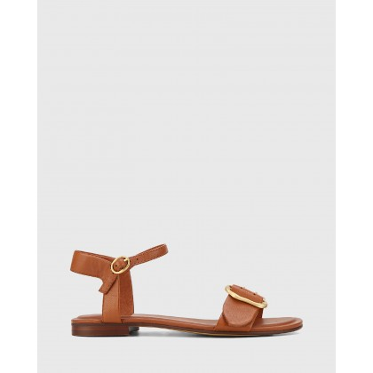 Caviana Leather Accent Buckle Flat Sandals Tan by Wittner