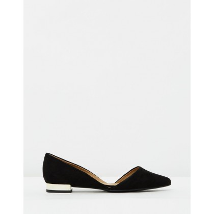 Celina Flats Black Microsuede by Spurr