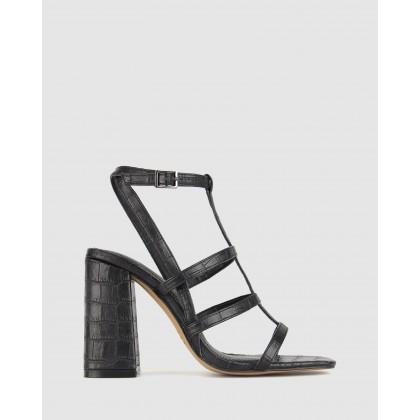 Cerys Block Heel Sandals Black Croc by Zu