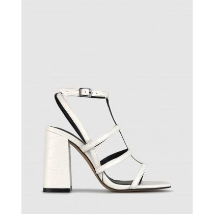 Cerys Block Heel Sandals White Croc by Zu