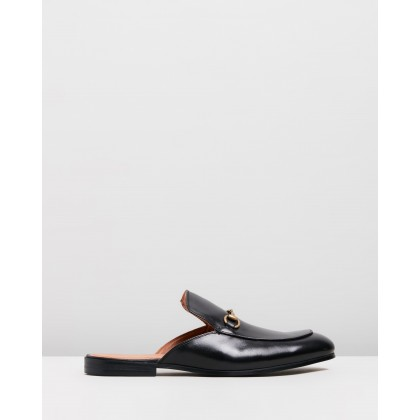 Chance Leather Backless Loafers Black by Double Oak Mills